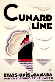 1929 Cunard Line Etats-Units et Canada Par Cherbourg Et Le Havre