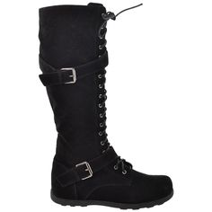 Womens Lace Up Knee High Boots w/ Buckle Straps Black