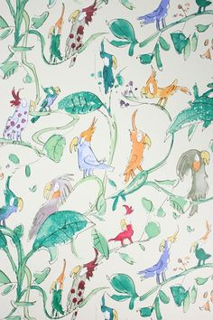 Discover hundreds of wallpaper ideas on HOUSE - design, food and travel by House & Garden including Cockatoos by Quentin Blake at Osborne & Little