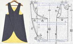 modelagem, MODA patrones, costura, moldesprontos, fashions - Her Crochet Sewing Aprons, Dress Sewing Patterns, Sewing Patterns Free, Sewing Clothes, Sewing Tutorials, Clothing Patterns, Diy Clothes, Skirt Patterns, Dress Tutorials