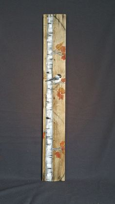 """40"""" VERY TALL Fall Reclaimed Wood Pallet Art, Hand painted  White Birch Chickadee bird,Tall, upcycled, Wall art, Distressed, Shabby Chic"""