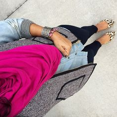Obsessed with this spring inspired outfit. Hot pink, leopard flats and chambray; it's a win.