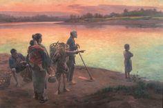 Evening at the Ferry Crossing by Wada Eisaku (Geidai Museum) - 和田英作 - Wikipedia Japanese Artwork, Japanese Painting, Sirens, Asian Art, Dusk, Museum, Sunset, Landscape, Artworks