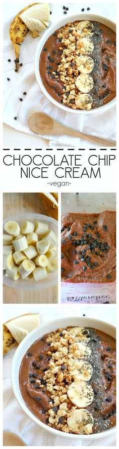 Vegan Soft-Serve 'Chocolate Chip Nice Cream' made with only a few low-fat ingredients, no ice cream maker required. Fluffy, creamy, and super simple. From The Glowing Fridge (Chocolate Chip Banana) Vegan Treats, Vegan Foods, Vegan Recipes, Whole Food Recipes, Dessert Recipes, Vegan Ice Cream, Nice Cream, Soft Serve, Ice Cream Recipes