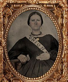 Civil War Quilts  woman with Union sash, gold earrings
