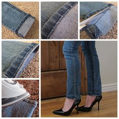 How to Shorten Long Jeans But Keeping The Orignal Hem ?  Video tutorial--> http://wonderfuldiy.com/wonderful-diy-shorten-long-jeans-but-keeping-the-orignal-hem/