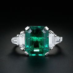 No words. Astonishing (as is the price) art deco: 5.11 carat emerald, hexagonal and tapered baguette cut diamonds.