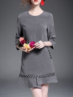 #AdoreWe #StyleWe TCG Gray Lace Up A-line Long Sleeve Plain Mini Dress - AdoreWe.com