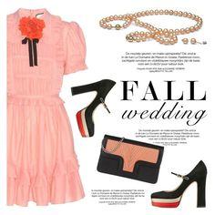 """Fall Wedding"" by pearlparadise ❤ liked on Polyvore featuring Gucci, Valentino, Lili Radu, contestentry, pearljewelry, fallwedding and pearlparadise"