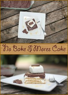 No bake S'Mores Dessert~ 4 Little Ferguson's via Baking and Cooking, A Tale of Two Loves onto Summer Smores Dessert, Smores Cake, No Bake Desserts, Dessert Recipes, Baked Smores, Love Cake, Caramel, Sweet Treats, Cooking Recipes