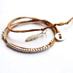 BijouxBar by Vivien Frank Boheme brown beaded friendship bracelet ❤ liked on Polyvore