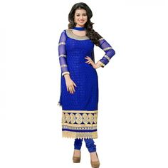 Karachi Unstitched Salwar Suit Dress Material (Blue)