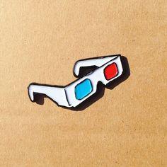 """3d glasses 1.50"""" lapel pin"""