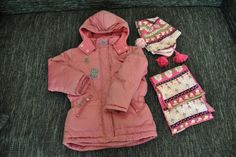 ESPRIT Daunenjacke Winterjacke pink Gr. 116 / 122 + Mütze + Schal  TOP!!!