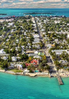 Duval Street, Key West Florida -- the only street in the U.S. where you can walk from the Atlantic Ocean to the Gulf of Mexico, just over a mile long.