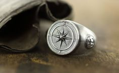 """Men's signet ring """"Wind rose""""/ """"Compass ring"""". Hand made silver ring"""