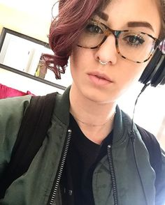 You are music to my ears . . . . . . . #nosepiercing #headphones #music #green #jacket #purple #hair #chocker #glasses via Headphones on Instagram - Best Sound Quality Audiophile Headphones and High-Fidelity Premium Earbuds for Hi-Fi Music Lovers by AudiophileCans