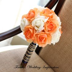 Coral Bouquet Orchids Yellow Bridal Rustic by TimelessWedding