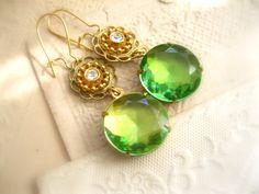 Dangle Drop Earrings Handmade Rhinestone Jewelry by PrettyDuzz, $32,00