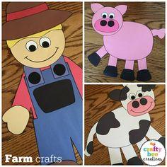Barnyard Vbs Decorations, Farm Classroom Decorations, Farm Theme Crafts, Farm Animal Crafts, Cute Kids Crafts, Craft Projects For Kids, Farm Animals Preschool, Preschool Crafts, Farmer Craft