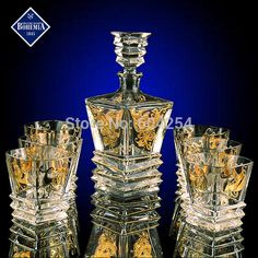 Cheap bar set, Buy Quality glass whisky directly from China luxury whisky glass Suppliers: Luxury crystal glass whisky wine cup bottle bar sets service for 6 house warming gifts Crystal Glassware, Crystal Decanter, Waterford Crystal, Liquor Glasses, Bohemia Crystal, Home Bar Designs, Bar Set, Glass Art, Bottle