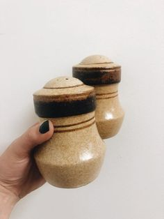 0c476ab3081f vintage pottery craft stoneware salt and pepper shakers / earthy tone salt  and pepper shakers /