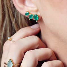 """Leah Alexandra Jewelry  on Instagram: """"My fave #earclimbers now available in #Emerald green onyx! """""""