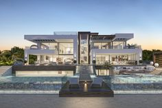 Luxury villa in La Cerquilla, Marbella, Malaga. This project has been designed by the architecture team at who's offices are in Dubai, Marbella and Madrid Luxury Modern Homes, Luxury Homes Dream Houses, Modern Mansion, Dream Homes, Design Villa Moderne, Modern Villa Design, Villa Luxury, Big Modern Houses, Mansion Homes
