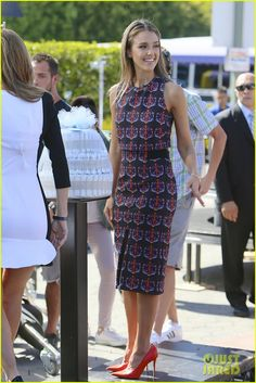 Jessica Alba :Tanya Taylor dress, Celine shoes, Rona Pfeiffer earrings, and EF Collection and Aviva Rose Jewelry rings