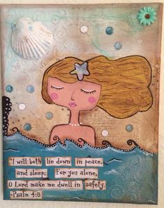 "Psalm 4:8 Original Mermaid Mixed Media on 8""x10"" Canvas"