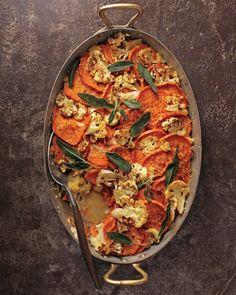 sweet potato-cauliflower gratin with crispy sage