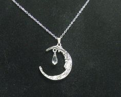 large man in moon necklace with swarovski crystal by JsJewelryect, $14.00