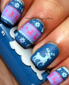 Sweater Nail Art with Rainbow Honey Charaxes and Tessie stamped with Bunny Nails stamping plate and Rica stamping polish