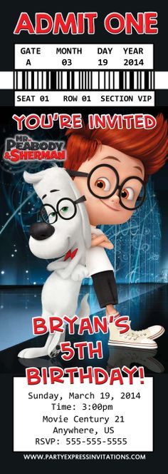 Mr. Peabody and Sherman Movie Ticket Invitations- Southern Outdoor Cinema event planning tip for promoting a movie night at school.