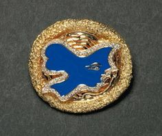 """GEORGES BRAQUE   HECATE   brooch in yellow gold, blue enamel and brilliant Engraved  """"Jewelry G. Braque """" and numbered  """"8/8 """"  """"descendant of the Titans, she presides over the magic and likes to enchant  """"the original item was acquired by  French state and presented in the following museums - the Louvre, the Museum of Decorative Arts - Paris - 1963 - Young Memorial Museum - San Francisco - 1963 - Musée du Québec - 1966 - Museum of Fine Arts, Nancy -1973 - Ludwigmuseum - Koblenz -..."""