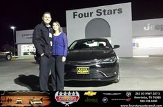 We are blown away by the service and the deal we received on our new 2015 Chrysler 200! Tracey Frerich was an outstanding salesman who completed our deal quicker than we could have hoped for. - the whole Four Stars Team was just as great! Come see Tracey at Four Stars, he will treat you like family and will take care of you and yours! - Cody & Ginnie Robbins, Tuesday, December 02, 2014 http://www.fourstarsautoranch.com/?utm_source=Flickr&utm_medium=DMaxxPhoto&utm_campaign=DeliveryMaxx