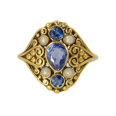 Frank Gardner Hale Frank G Hale 18kt Gold Ring with Montana Sapphires and Pearls