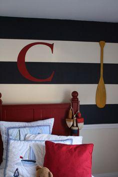 Stripes on walls, totally nautical...