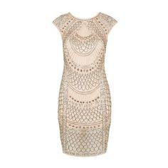 Teardrop Embellished Dress by Tfnc ($66) ❤ liked on Polyvore featuring dresses, nude, embelished dress, polish dress, going out dresses, night out dresses and wetlook dress