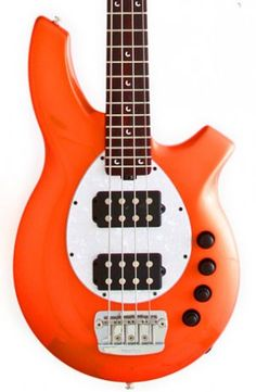 Four-string orange Music Man Bongo with a pearl white pickguard and a roasted maple neck. This is my dream bass and I will have it one day. This is one of the FEW things I wish I had all kinds of spending cash for.