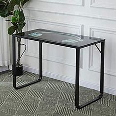 OFCASA Home Office Student Desk Computer PC Writing Table Workstation Metal Legs 105 (L) x 55 (W) x 75 (H) cm Student Office, Student Desks, Computer Workstation, Office Workstations, Laptop Table, Black Desk, Writing Table, Table Games, Steel Frame