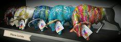 Toros en Resina, Pintados a Mano Explosión de Colores.