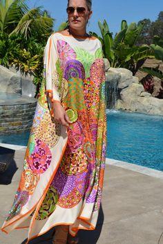 Womens Full Length Silk Caftan Womens silk Kaftan Silk Beach Coverup Plus Size Silk Dress Silk Robe Resort Wear African Maxi Dresses, Latest African Fashion Dresses, African Dresses For Women, African Print Fashion, African Wear, African Attire, Silk Kaftan, Silk Dress, The Dress