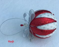 hearts and stockings. Two each of tree Luxury fabric Christmas ornamentsdecorations in blue sparkling organza