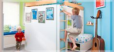 A Kids' Room To Grow  A small room becomes a bedroom for two active boys with a bunk bed woodworking project, lots of easy-to-make storage space - and room for a little fun.