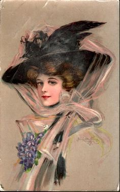 lady in beige, facing left with large black hat secured by pink filmy scarf and ribbon applique - TuckDB Postcards Victorian Pictures, Vintage Pictures, Vintage Images, Vintage Prints, Vintage Art, Vintage Ladies, Vintage Roses, Victorian Hats, Victorian Women