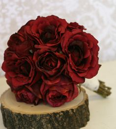 Silk Bride Bouquet Red Roses Rustic Chic Wedding by braggingbags, $125.00