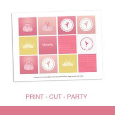 Cupcake Toppers Party Circles Printable PDF - Ballerina Birthday Girl Pink Princess Birthday Party Theme by daintzy