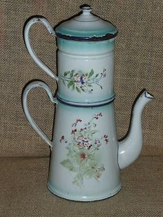 Vintage French Enamelware Coffee Biggin Pot C 1920 Japy Floral Decor | eBay