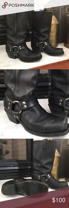 """BiltRite Harness Style Motorcycle Boots Up for grabs is my pair of BiltRite Harness Style Motorcycle Boots Women's size 7.5! These are in great condition and have plenty of wear left in them. As you can see from the bottoms they are hardly scuffed and have a neoprene sole. The measure approximately 13"""" from heel to top of boot. I have not conditioned these. I know some people prefer them with the """"worn"""" look. They could easily be conditioned and remove all scuffing. BiltRite Shoes Combat…"""